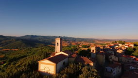 Drone footage - a small village in the mountains 2. Aerial shot in Tuscany, Italy stock video footage