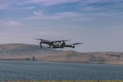 Drone flying after take-off royalty free stock photos