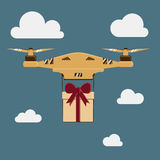 Drone with a gift. modern Flat Royalty Free Stock Images