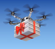Drone with gift wrapped books Stock Photos