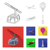 A drone, a glider, a balloon, a transportation barge, a space rocket transport modes. Transport set collection icons in. Outline,flat style vector symbol stock Stock Images