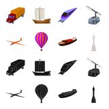 A drone, a glider, a balloon, a transportation barge, a space rocket transport modes. Transport set collection icons in. Black,cartoon style vector symbol stock Stock Photos