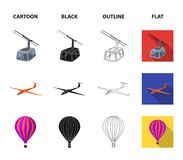 A drone, a glider, a balloon, a transportation barge, a space rocket transport modes. Transport set collection icons in. Cartoon,black,outline,flat style vector Royalty Free Stock Images