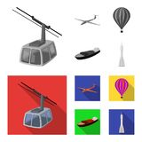 A drone, a glider, a balloon, a transportation barge, a space rocket transport modes. Transport set collection icons in. Monochrome,flat style vector symbol Stock Photo