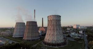 Thermal Power Plant Aerial stock video footage