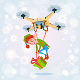 Drone Green Elf Delivery Present, Happy New Year Merry Christmas Holiday Banner Stock Image