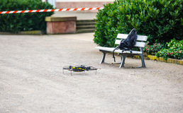 Drone on the ground. In security testing area stock image