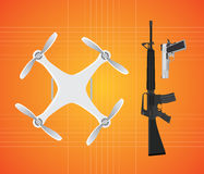 Drone with gun firearms mounted m16 and pistol vector Stock Photos