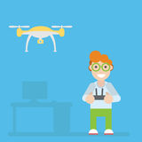 Drone and guy with remote controls Royalty Free Stock Image