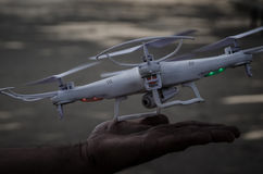 Drone in a hand royalty free stock photo