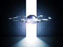 Drone in hangar stock illustration
