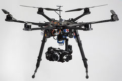 Drone. A hexacopter with attached camera isolated on a white background Royalty Free Stock Photo