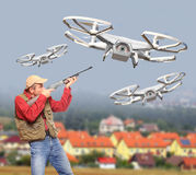 Drone hunter. Royalty Free Stock Images