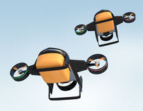 Drone with hybrid mode which can lift up vertically and flying like normal airplane. Stock Image