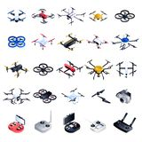 Drone icon set, isometric style royalty free illustration