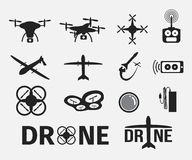 Drone icon set Royalty Free Stock Photography