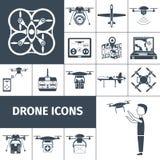 Drone Icons Black Royalty Free Stock Photos