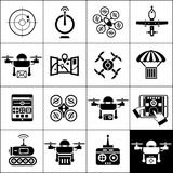 Drone Icons Black Stock Image