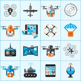 Drone Icons Set. Drone automatic flying surveillance camera icons set isolated vector illustration Stock Image