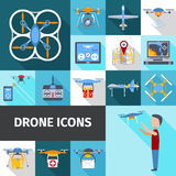 Drone Icons Set Stock Photography