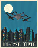 Drone illustration art deco style Royalty Free Stock Photography