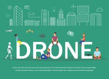 Drone illustration of young people having fan and playing with remote quadrocopters. Royalty Free Stock Image