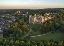Drone image of Arundel Castle at dawn royalty free stock photography