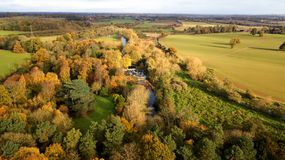 Drone Image - Autumn Trees. Drone picture of Autumn Woods and British Countryside Royalty Free Stock Photos
