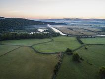 Drone image of a misty dawn English landscape royalty free stock photo