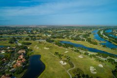 Weston Florida aerial drone image. Drone image of Weston Florida homes and golf courses Stock Image