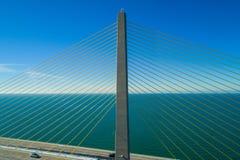 Sunshine Skyway Bridge closeup suspension cable inspection. Drone industrial suspension cable bridge inspection royalty free stock photo