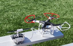 Drone and its controller Stock Photo