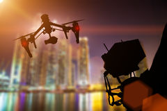 Drone with 4K camera flying. Royalty Free Stock Image
