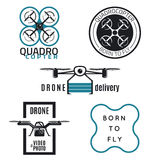 Drone Labels and icons design Royalty Free Stock Images