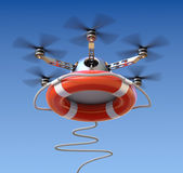 Drone with the lifebuoy. 3D concept Royalty Free Stock Photo