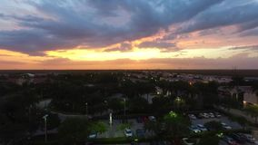 Drone liftoff during sunset stock video