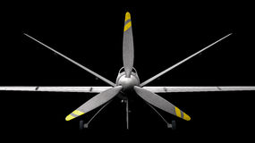 Drone. Military drone over black background stock photography