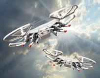 Drone with missiles. New technology for war. Digital artwork fictional vehicles on UAV theme royalty free illustration