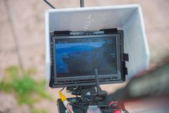 Drone monitor high flight ner the sea. And mountains stock photos