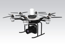 Drone mounted with DSLR for aerial photography Stock Photography