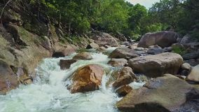 Drone Moves along Rough River with Rapids among Tropical Forest. Drone moves along rough powerful mountain river with cascades rapids and large rocks among deep stock video footage