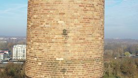 4k drone shot of a brick chimney stock footage