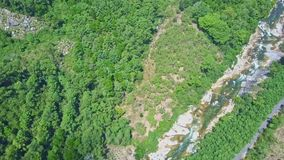 Drone Moves over Deep Wild Tropical Jungle Crossed by River. Drone moves slowly over deep wild tropical jungle crossed by river with huge white rocks and road stock video footage