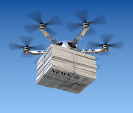 Drone with newspapers Royalty Free Stock Image