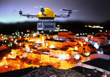 Drone night delivery Stock Photography