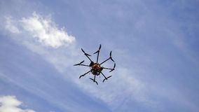 Drone Octopopter with Camera in flight. stock video