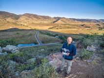 Drone operator at foothills Royalty Free Stock Photo