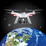 Drone Outer Space Earth Vector Illustration Stock Image