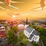 Drone over gothic church. Stock Photos