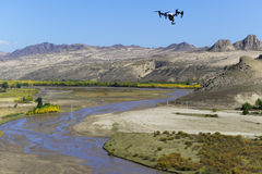 Drone over the river. Drone over the mountain and river xilamulun royalty free stock photography